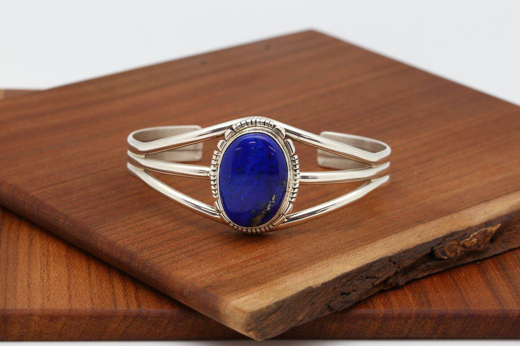 Navajo Lapis Oval Shaped Bracelet-Lema's Kokopelli Gallery