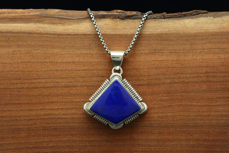 Navajo Lapis Small Abstract Pendant-Lema's Kokopelli Gallery
