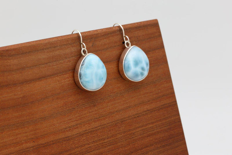 Navajo Larimar Dangle Earrings-Lema's Kokopelli Gallery