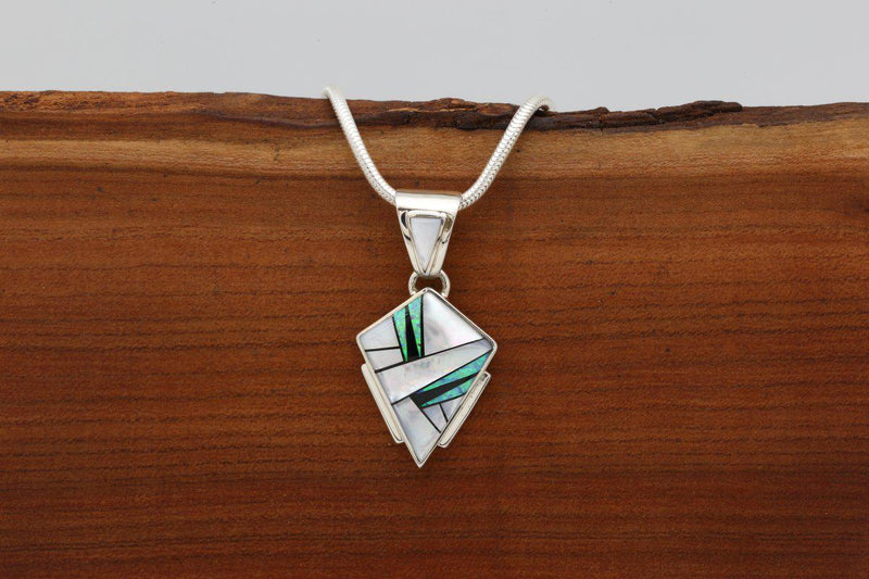 Navajo Mother of Pearl Inlay Arrowhead Pendant-Lema's Kokopelli Gallery