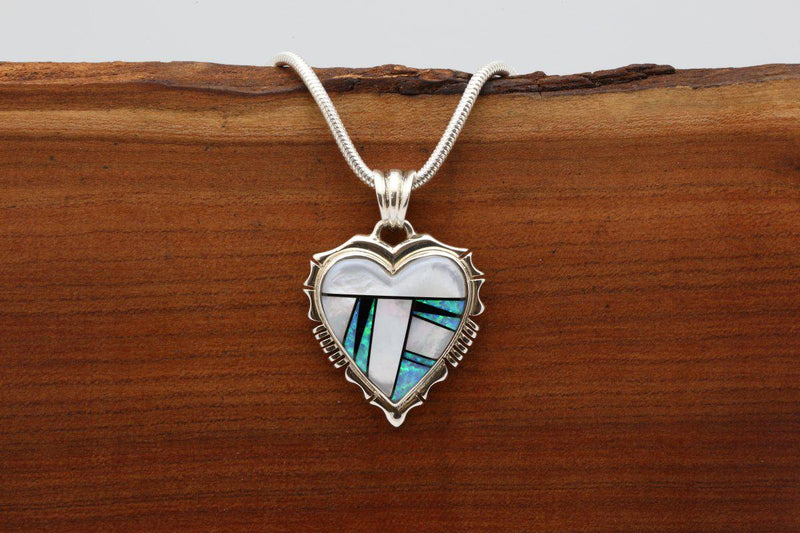 Navajo Mother of Pearl Inlay Heart Pendant-Lema's Kokopelli Gallery