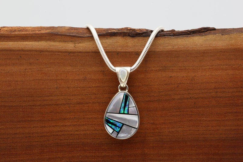 Navajo Mother of Pearl Inlay Pendant-Lema's Kokopelli Gallery