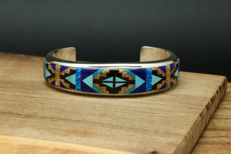 Navajo Multi Color Inlay Rug Design Bracelet-Lema's Kokopelli Gallery