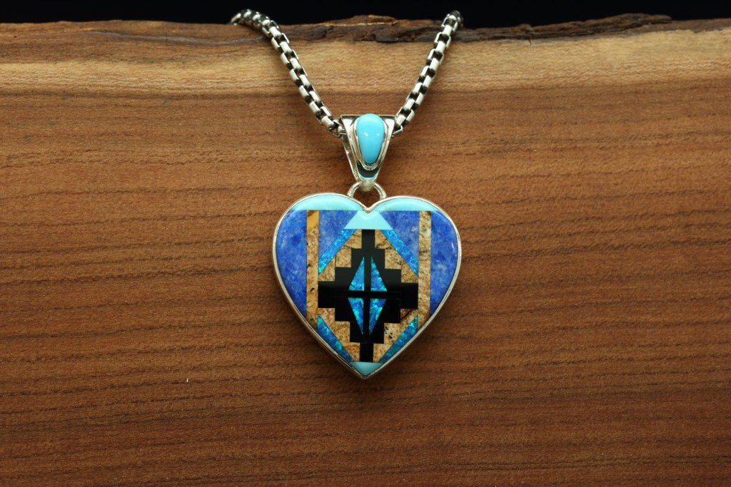 Navajo Multi Color Inlay Rug Design Heart Pendant-Lema's Kokopelli Gallery