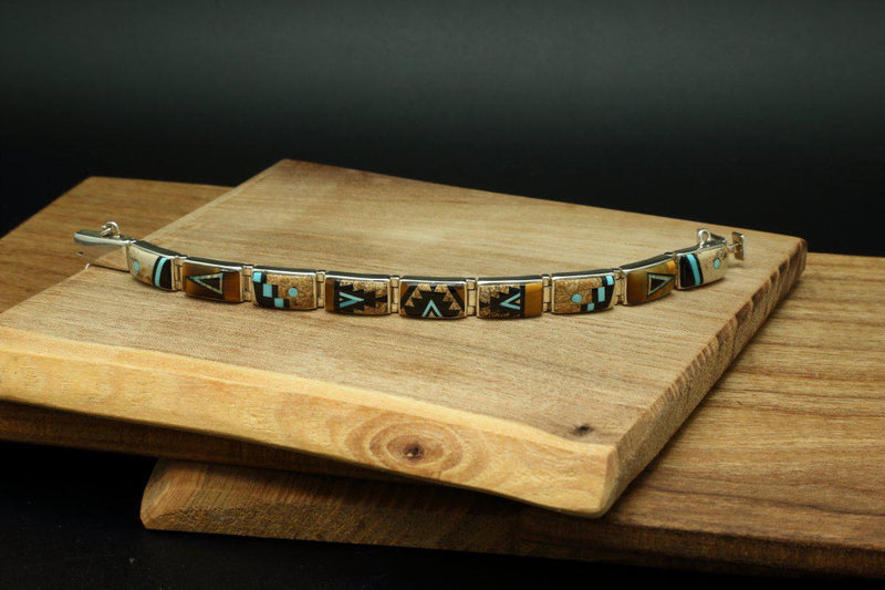 Navajo Multi Color Inlay Rug Design Link Bracelet-Lema's Kokopelli Gallery