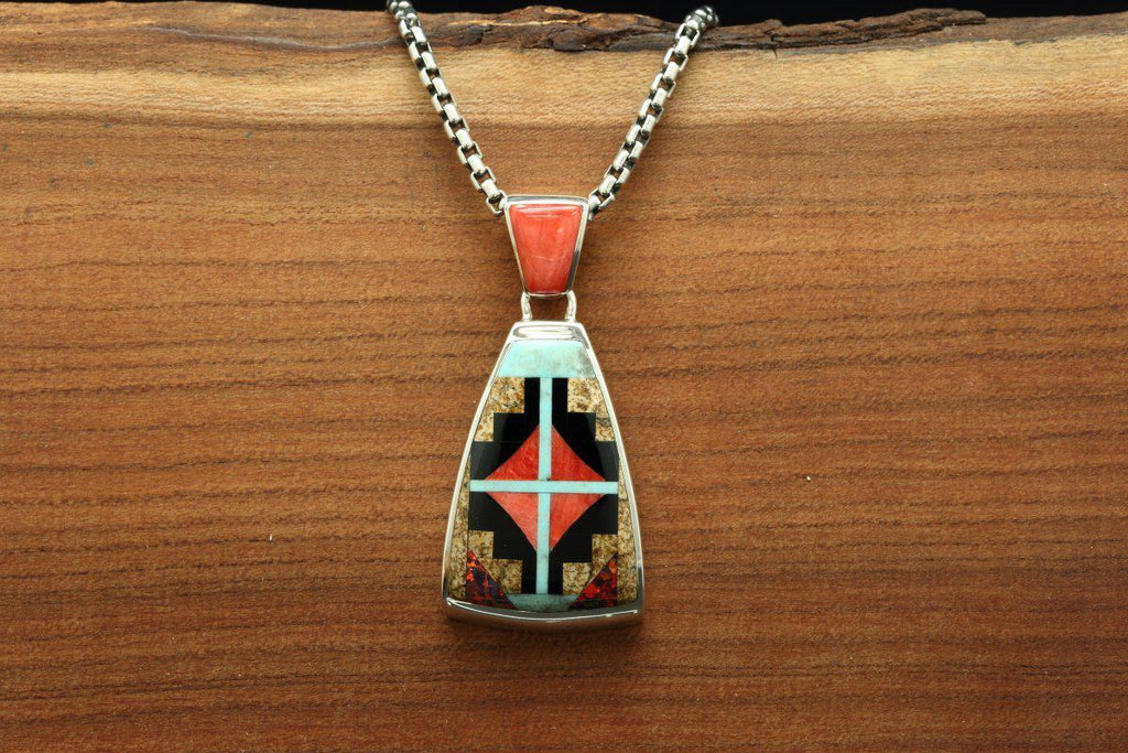 Navajo Multi Color Inlay Rug Design Pendant-Lema's Kokopelli Gallery