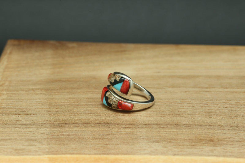Navajo Multi Color Inlay Rug Design Ring-Lema's Kokopelli Gallery