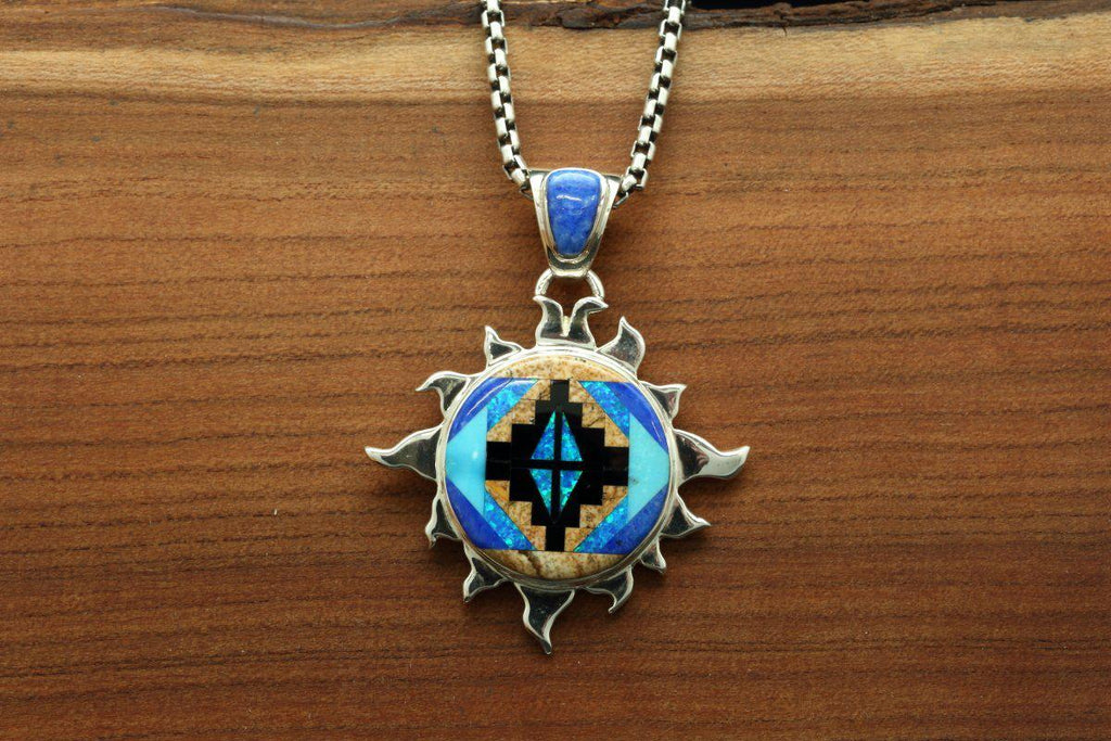 Navajo Multi Color Inlay Rug Design Sun Pendant-Lema's Kokopelli Gallery