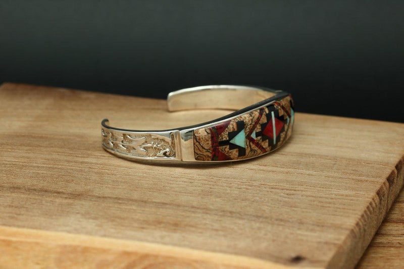 Navajo Multi Color Inlay Rug Design Tapered Bracelet-Lema's Kokopelli Gallery