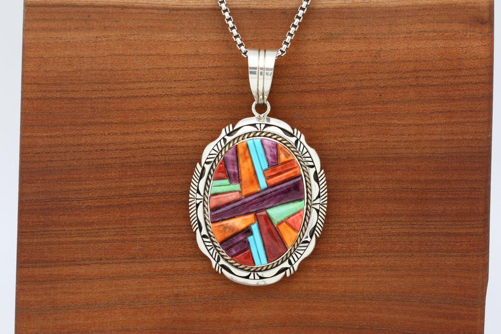 Navajo Multicolor Cobblestone Inlay Pendant-Lema's Kokopelli Gallery