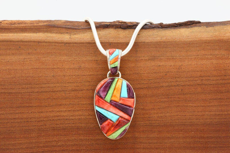 Navajo Multicolor Cobblestone Inlay Reversible Pendant-Lema's Kokopelli Gallery