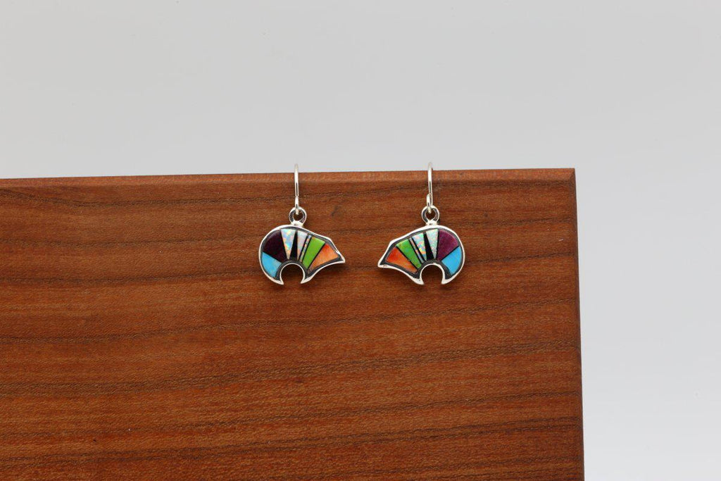 Navajo Multicolor Inlay Bear Earrings-Lema's Kokopelli Gallery