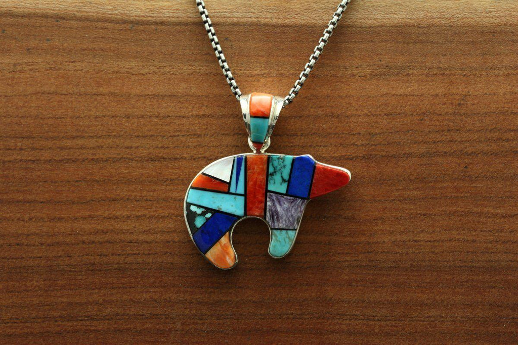 Navajo Multicolor Inlay Bear Pendant-Lema's Kokopelli Gallery