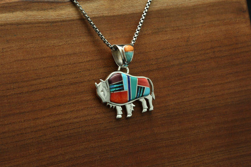 Navajo Multicolor Inlay Bison Pendant-Lema's Kokopelli Gallery