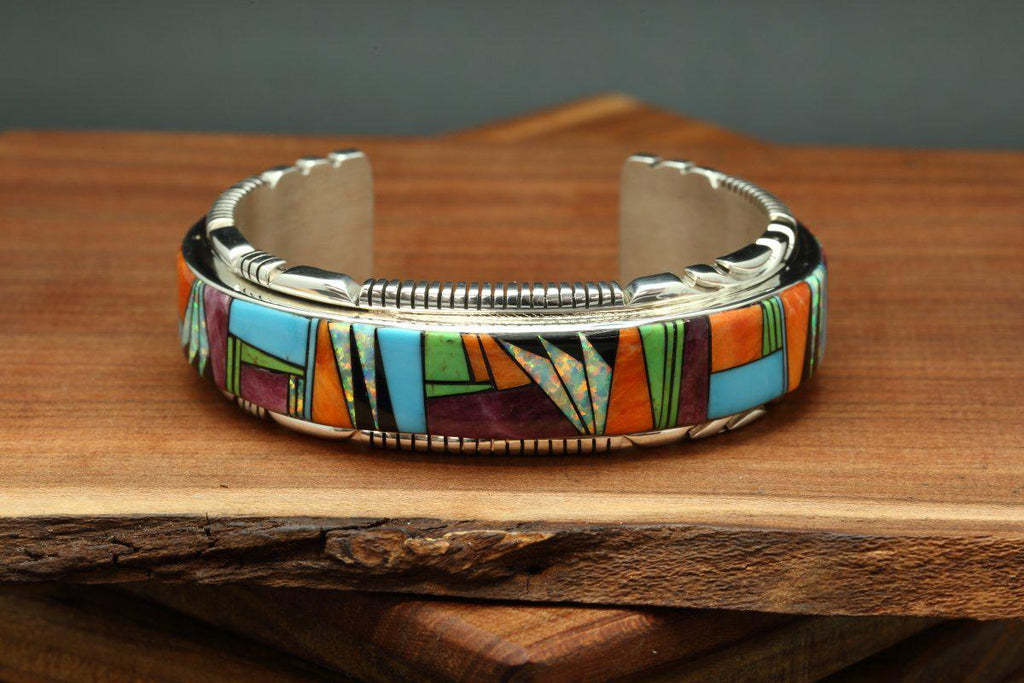 Navajo Multicolor Inlay Bracelet-Lema's Kokopelli Gallery