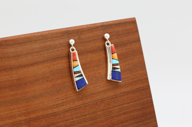 Navajo Multicolor Inlay Earrings-Lema's Kokopelli Gallery