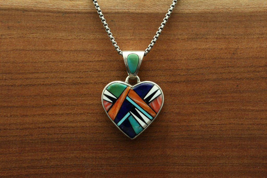 Navajo Multicolor Inlay Heart Pendant-Lema's Kokopelli Gallery