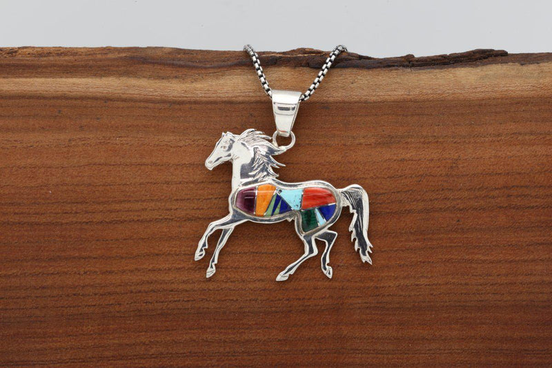 Navajo Multicolor Inlay Horse Pendant-Lema's Kokopelli Gallery