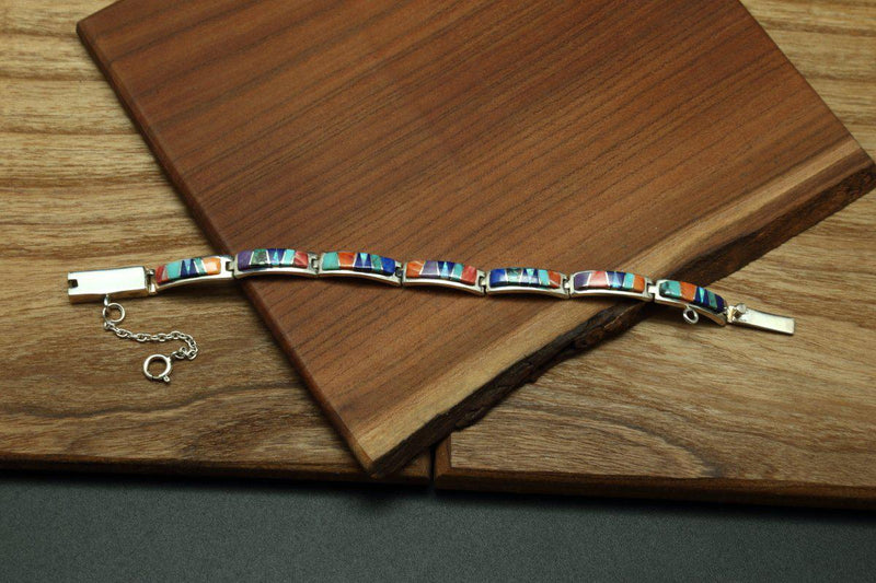 Navajo Multicolor Inlay Link Bracelet-Lema's Kokopelli Gallery
