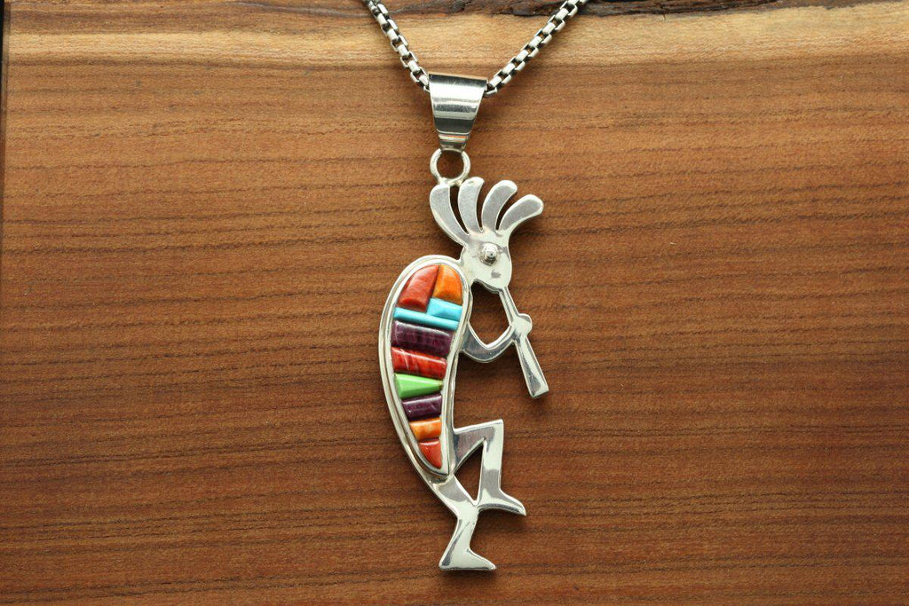 Navajo Multicolor Inlay Reversible Kokopelli Pendant-Lema's Kokopelli Gallery