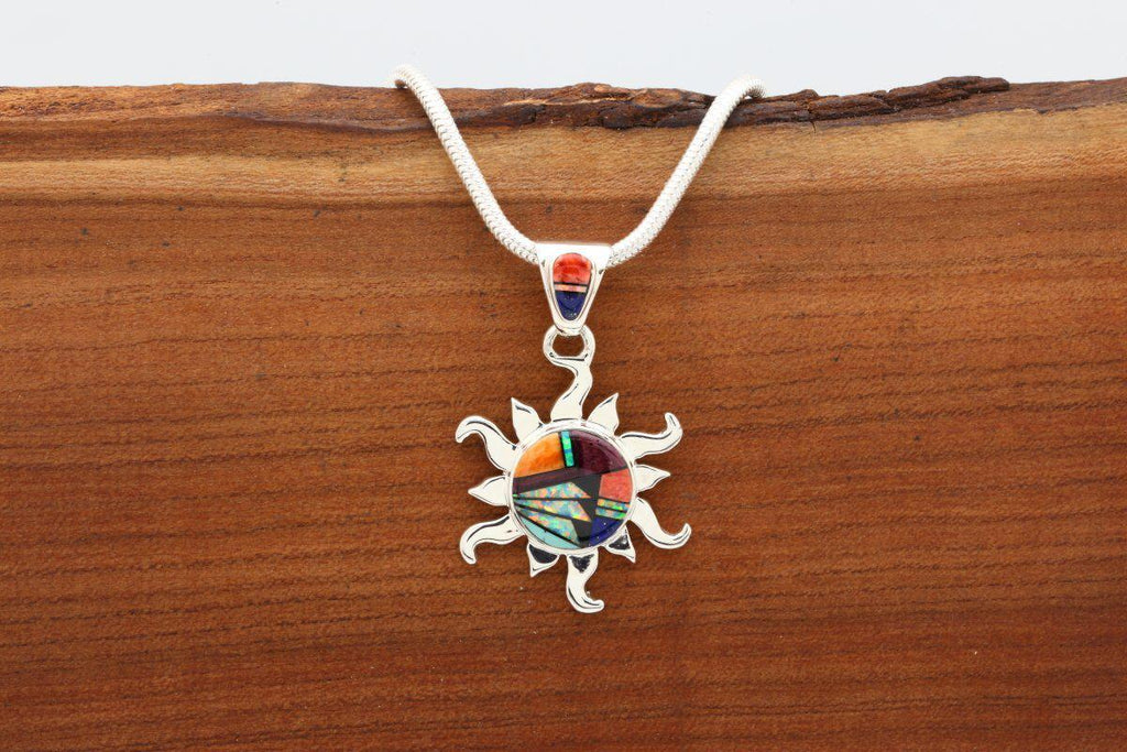 Navajo Multicolor Inlay Sun Pendant-Lema's Kokopelli Gallery