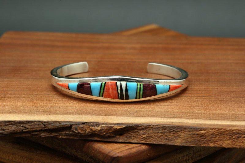 Navajo Multicolor Inlay Tapered Bracelet-Lema's Kokopelli Gallery