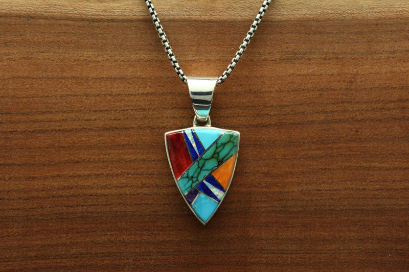 Navajo Multicolor Inlay Triangular Pendant-Lema's Kokopelli Gallery