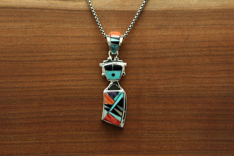 Navajo Multicolor Inlay Yei Pendant-Lema's Kokopelli Gallery