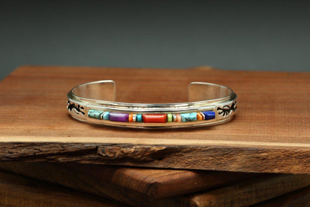Navajo Multicolor Kokopelli Inlay Bracelet-Lema's Kokopelli Gallery