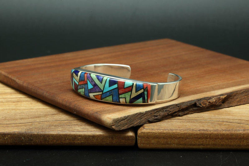 Navajo Multicolor Mosaic Inlay Bracelet-Lema's Kokopelli Gallery