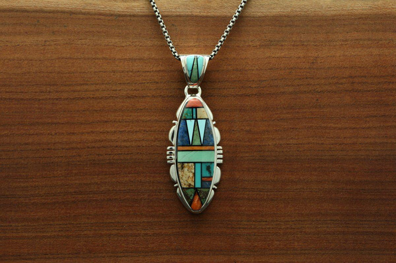 Navajo Multicolor Mosaic Inlay Pendant-Lema's Kokopelli Gallery