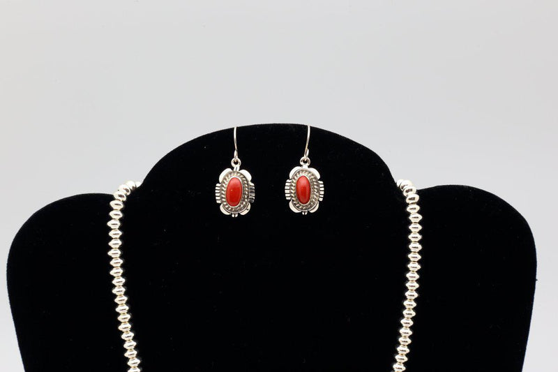 Navajo Natural Red Coral Necklace Earring Set-Lema's Kokopelli Gallery