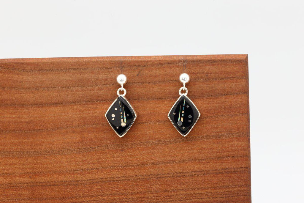Navajo Night Sky Inlay Diamond Shaped Earrings-Lema's Kokopelli Gallery