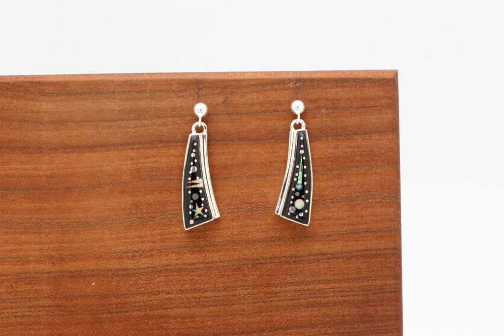 Navajo Night Sky Inlay Earrings-Lema's Kokopelli Gallery