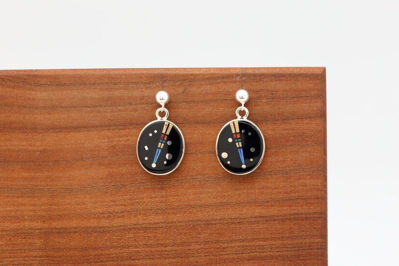 Navajo Night Sky Inlay Round Earrings-Lema's Kokopelli Gallery