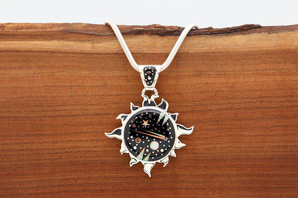 Navajo Night Sky Inlay Sun Pendant-Lema's Kokopelli Gallery