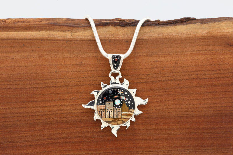 Navajo Night Sky Pueblo Inlay Sun Pendant-Lema's Kokopelli Gallery