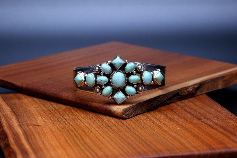 Navajo Number Eight Turquoise Bracelet-Lema's Kokopelli Gallery