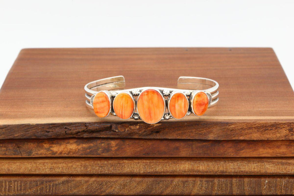 Navajo Orange Spiny Oyster Shell Bracelet-Lema's Kokopelli Gallery
