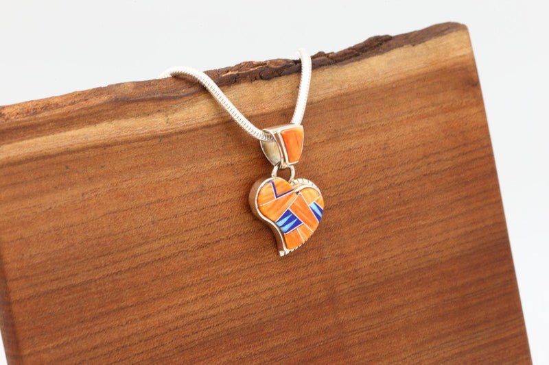 Navajo Orange Spiny Oyster Shell Inlay Heart Pendant-Lema's Kokopelli Gallery