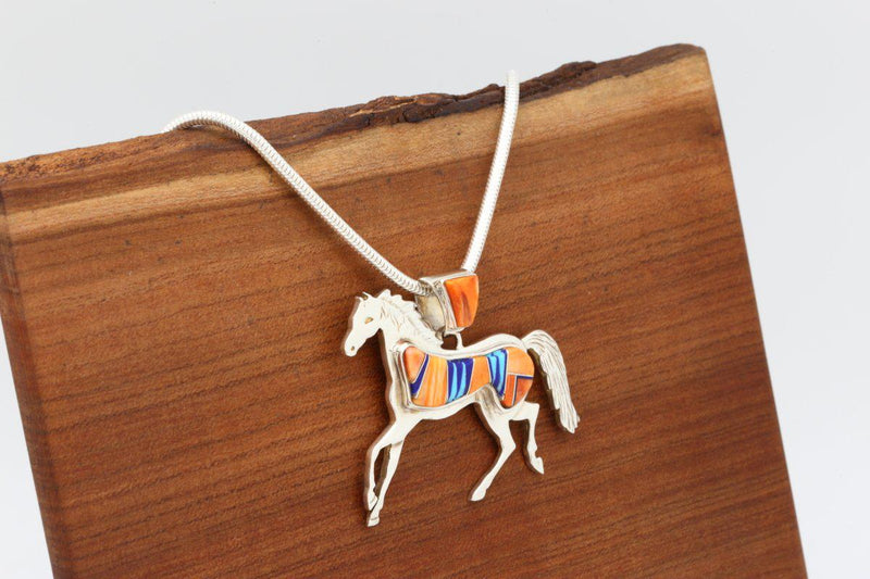 Navajo Orange Spiny Oyster Shell Inlay Horse Pendant-Lema's Kokopelli Gallery