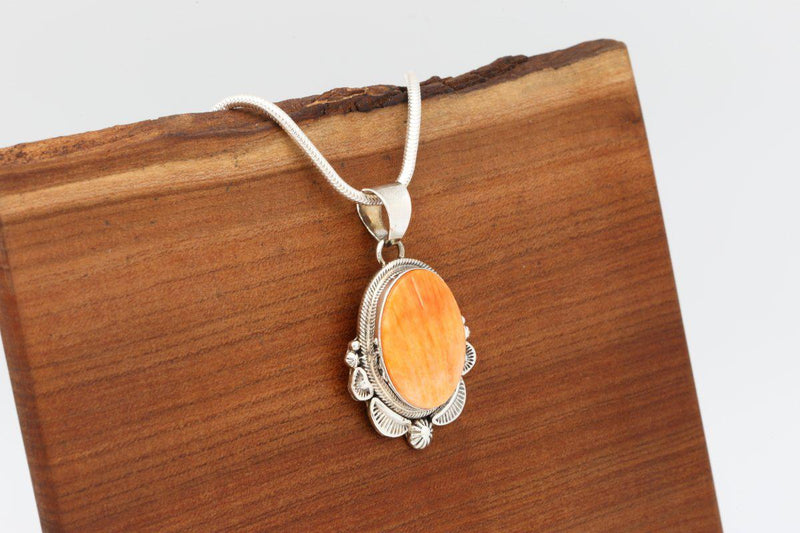 Navajo Orange Spiny Oyster Shell Pendant-Lema's Kokopelli Gallery