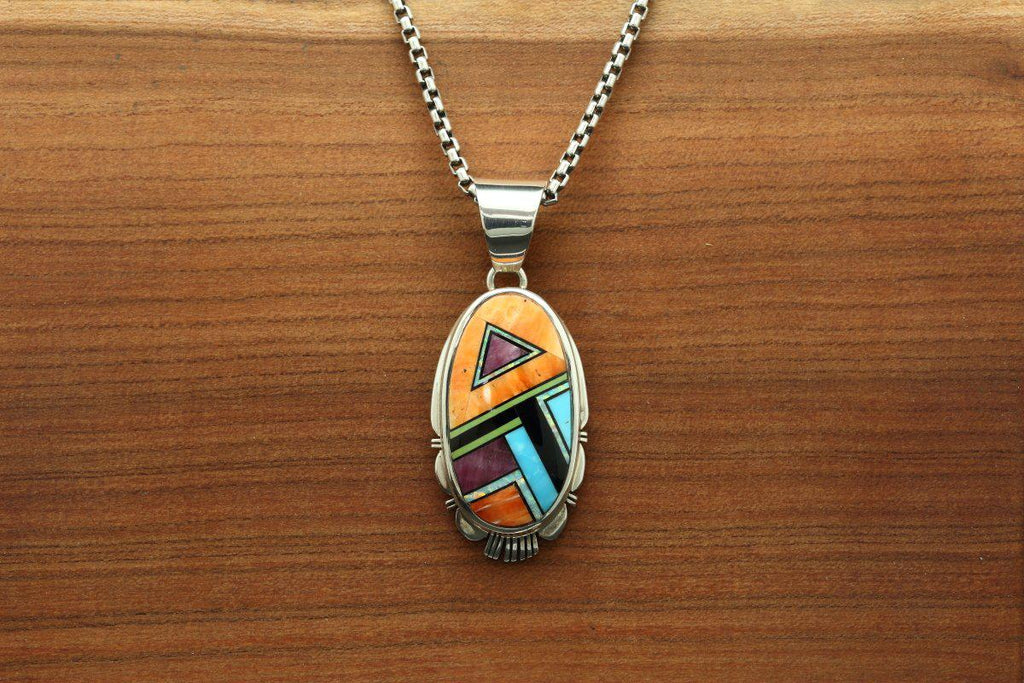 Navajo Oval Multicolor Inlay Pendant-Lema's Kokopelli Gallery