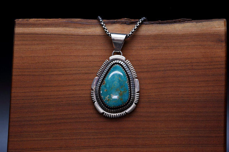 Navajo Pendant with Blue Gem Turquoise-Lema's Kokopelli Gallery