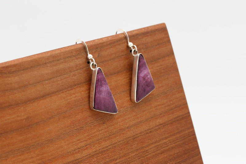 Navajo Purple Spiny Oyster Shell Earrings-Lema's Kokopelli Gallery