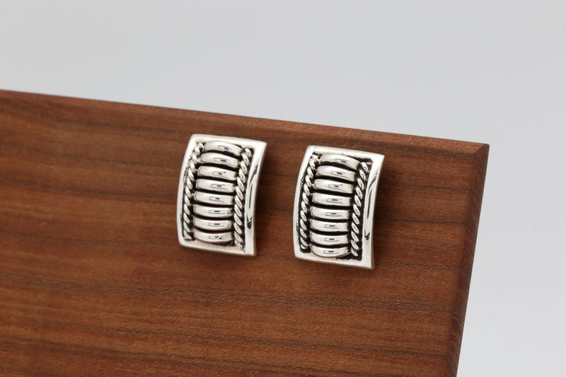 Navajo Rectangular Silver Earrings-Lema's Kokopelli Gallery