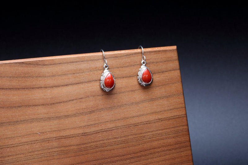 Navajo Red Coral Earrings-Lema's Kokopelli Gallery