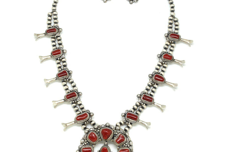 Navajo Red Coral Squash Blossom Necklace Earring Set-Lema's Kokopelli Gallery