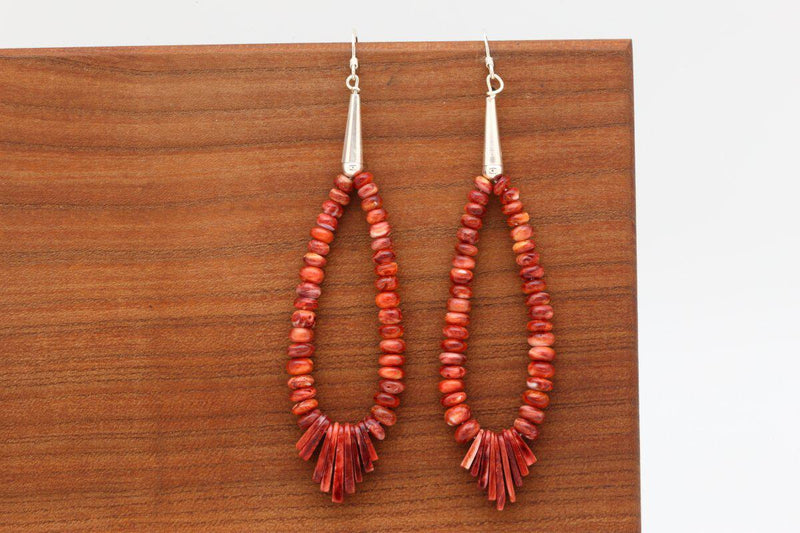 Navajo Red Spiny Oyster Shell Dangle Earrings-Lema's Kokopelli Gallery