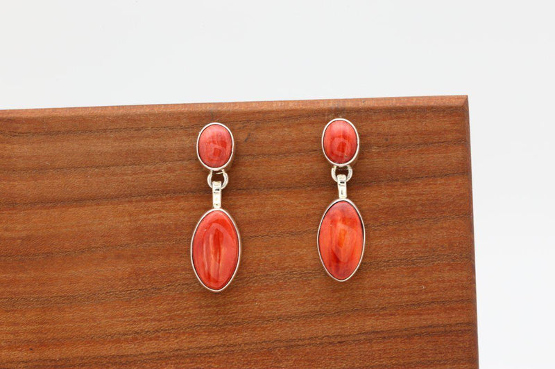 Navajo Red Spiny Oyster Shell Earrings-Lema's Kokopelli Gallery